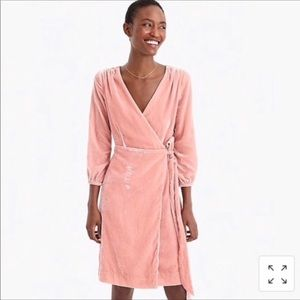 J. Crew wrap dress in drapey velvet seashell pink